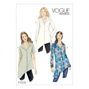 Vogue Ladies Easy Sewing Pattern 9226 Asymmetrical Hem Button Down Tunic Tops
