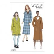 Vogue Ladies Easy Sewing Pattern 9231 Shawl & Notch Collar Wrap Coats with Blanket Stitching
