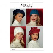 Vogue Ladies Sewing Pattern 9235 Hats in Four Styles