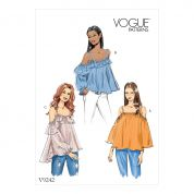 Vogue Ladies Easy Sewing Pattern 9242 Off The Shoulder Tops with Straps
