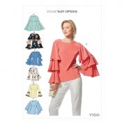 Vogue Ladies Easy Sewing Pattern 9243 Princess Seam Tops with Flared Sleeves