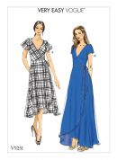 Vogue Ladies Easy Sewing Pattern 9251 Wrap Dresses with Ties