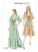 Vogue Ladies Easy Sewing Pattern 9253 Deep V Kimono Style Dresses
