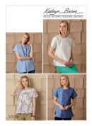 Vogue Ladies Easy Sewing Pattern 9256 Tops with Invisible Zipper & Self Fabric Underlay