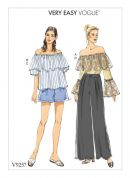 Vogue Ladies Easy Sewing Pattern 9257 Off the Shoulder Ruffle Tops, Shorts & Pants