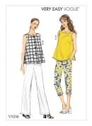 Vogue Ladies Easy Sewing Pattern 9258 Sleeveless Tops & Pull On Pants