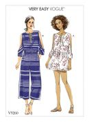 Vogue Ladies Easy Sewing Pattern 9260 Cold Shoulder Romper & Jumpsuit