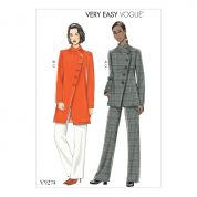Vogue Ladies Easy Sewing Pattern 9274 Asymmetrical Lined Jacket & Pants