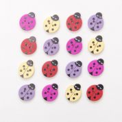 Wood Ladybird Buttons  Assorted Colours