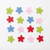 Wood Flower Buttons  Assorted Colours