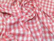 Lady McElroy Tweed Check Coating Fabric  Pink