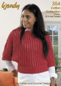 Wendy Supreme Cotton Collection 354 Knitting Pattern Book  4 Ply, DK