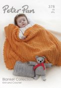 Peter Pan Baby Blanket Collection 378 Knitting & Crochet Pattern Book  4 Ply, DK
