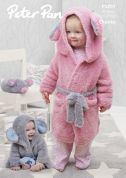 Peter Pan Baby & Kids Dressing Gown & Mouse Toy Precious Knitting Pattern 1297  Chunky
