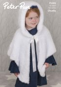 Peter Pan Girls Hooded Capes Precious Knitting Pattern 1301  Chunky