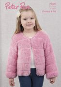 Peter Pan Girls Faux Fur Jacket Precious Knitting Pattern 1305  Chunky, DK