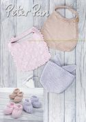 Peter Pan Baby Bibs & Bootees Baby Cotton Knitting Pattern 1307  DK