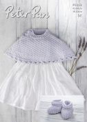 Peter Pan Baby Capelet & Bootees Baby Cotton Knitting Pattern 1312  DK