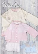 Peter Pan Baby Jackets Baby Cotton Knitting Pattern 1313  DK