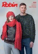 Robin Ladies & Mens Sweater, Hat & Scarf Firecracker Knitting Pattern 3000  Super Chunky