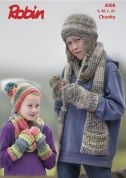 Robin Childrens Hats, Scarves & Wrist Warmers Phoenix Knitting Pattern 3008  Chunky