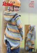 Robin Childrens Hooded Jacket Phoenix Knitting Pattern 3009  Chunky