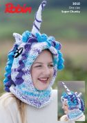 Robin Childrens Novelty Unicorn Hat Paintbox Splash Knitting Pattern 3010  Super Chunky