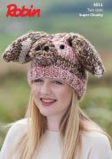 Robin Childrens Novelty Pig Hat Paintbox Splash Knitting Pattern 3011  Super Chunky
