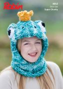 Robin Childrens Novelty Frog Hat Paintbox Splash Knitting Pattern 3012  Super Chunky