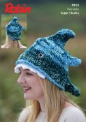 Robin Childrens Novelty Shark Hat Paintbox Splash Knitting Pattern 3013  Super Chunky