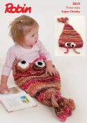 Robin Baby & Kids Fish Snuggle Bag Paintbox Splash Knitting Pattern 3014  Super Chunky