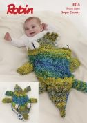 Robin Baby & Kids Crocodile Snuggle Bag Paintbox Splash Knitting Pattern 3015  Super Chunky