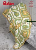 Robin Flower Garden Throw Crochet Pattern 3022  Aran
