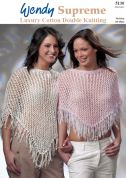 Wendy Ladies Lacy Ponchos Supreme Knitting Pattern 5130  DK