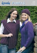Wendy Ladies Top, Hat & Scarf Pampas Knitting Pattern 5181  Super Chunky
