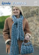 Wendy Ladies Scarf & Bag Pampas Knitting Pattern 5185  Super Chunky