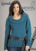 Wendy Ladies Wide Collared Sweater Serenity Knitting Pattern 5580  Super Chunky