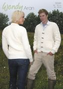Wendy Mens & Ladies V Neck Cable Cardigan Traditional Wool Knitting Pattern 5585  Aran