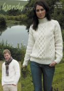 Wendy Mens & Ladies Cabled Sweaters Traditional Wool Knitting Pattern 5587  Aran