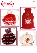 Wendy Christmas Tea Cosies & Hot Water Bottle Cover Knitting Pattern 5597  DK, 4 Ply
