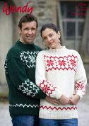 Wendy Mens & Ladies Snowflake Sweater Mode Knitting Pattern 5598  Chunky