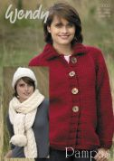Wendy Ladies Jacket, Hat & Scarf Pampas Knitting Pattern 5603  Super Chunky