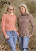 Wendy Ladies Sweaters Merino Knitting Pattern 5637  DK
