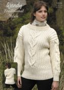 Wendy Ladies Cabled Sweater Traditional Wool Knitting Pattern 5639  Aran