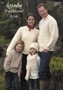 Wendy Family Sweater, Hat & Scarf Traditional Wool Knitting Pattern 5640  Aran