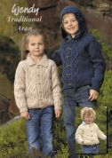 Wendy Childrens Jackets Traditional Wool Knitting Pattern 5641  Aran