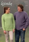 Wendy Mens & Ladies Sweaters Merino & Mode Knitting Pattern 5682  DK