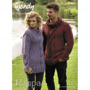 Wendy Mens & Ladies Sweater Pampas Knitting Pattern 5698  Super Chunky