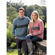 Wendy Mens & Ladies Sweater Serenity Knitting Pattern 5705  Super Chunky