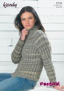 Wendy Ladies Sweater Festival Knitting Pattern 5734  Chunky